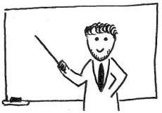 Strichzeichnung: Lehrer mit Zeigestock vor einer Tafel