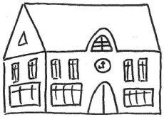 Zeichnung eines Schulgebäudes